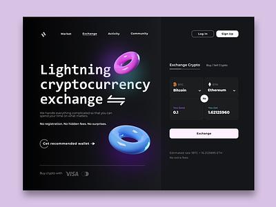 Lightning cryptocurrency website design productdesign design ux bitcoin cryptocurrency crypto ui