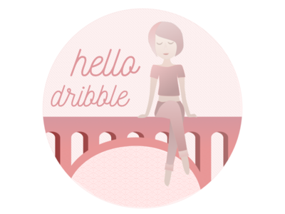 Hello, Dribbble! dribbble thank you hello gradient pattern girl bridge pink debut