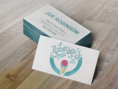 Robinson's Ice Cream Business Card identity brand handlettering lettering mockup logo letterpress business card