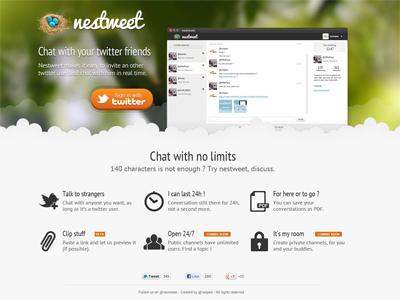 Nestweet nestweet page landing chat twitter
