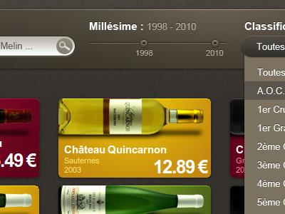 Wine Sorting wine sort slider range search list combo form