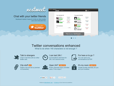 Nestweet Landing landing page nestweet chat twitter app