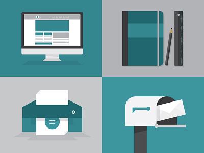 Web. Design. Print. Mail. illustration iconography design