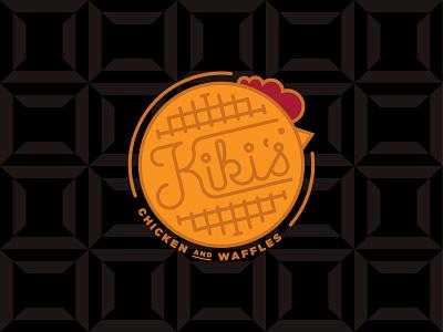 Kikis Chicken & Waffles logo brand illustration branding design