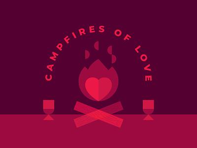 Campfires of Love geometric campfire fire heart design illustration