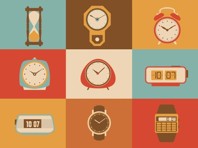 Clocks illustration design vector icon time digital analogue watch clock