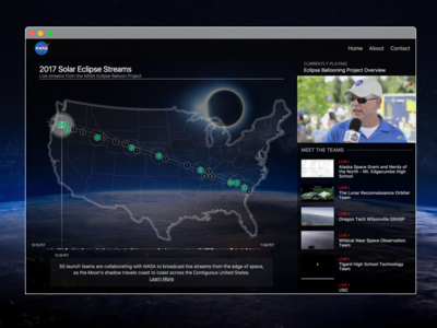 2017 Eclipse Stream interface sun moon eclipse space nasa interaction design illustration design ui ux