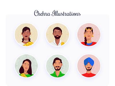 Chehra Illustration vectorart chehre chehre indianface indianface religion diversity faces culture art indian india illustration design