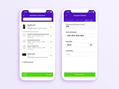 Plan Selection & Payment Screen Design