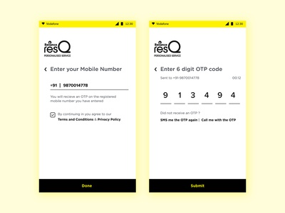 Login & OTP Screen Design