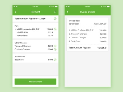 Payment & Invoice Screen Design