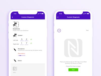 Earphone & NFC Test Screen Design