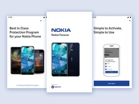 Nokia Forever App Onboarding carousel nokia welcome screen ui trends steps onboarding screen design launch screen mobile clean ui ios card iphone app android daily ui layout interface ux ui onboarding