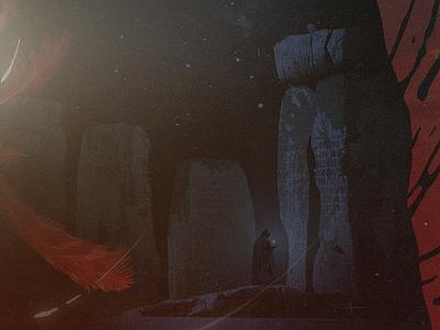 UO Ruins night magic dark red illustration