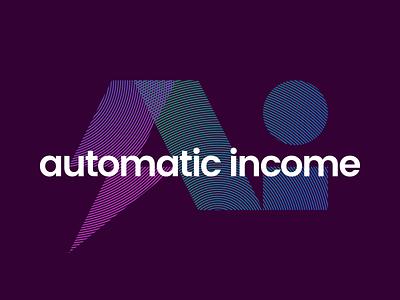 Automatic Income Logo Element purple bolt lightning bolt gradient moire logo