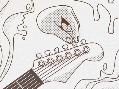 Small changes make big differences disembodied hand hand tuning random liquid editorial illustration guitar