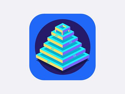 Inca app icon whatevermetric isometric geometric icon blue inca pyramid