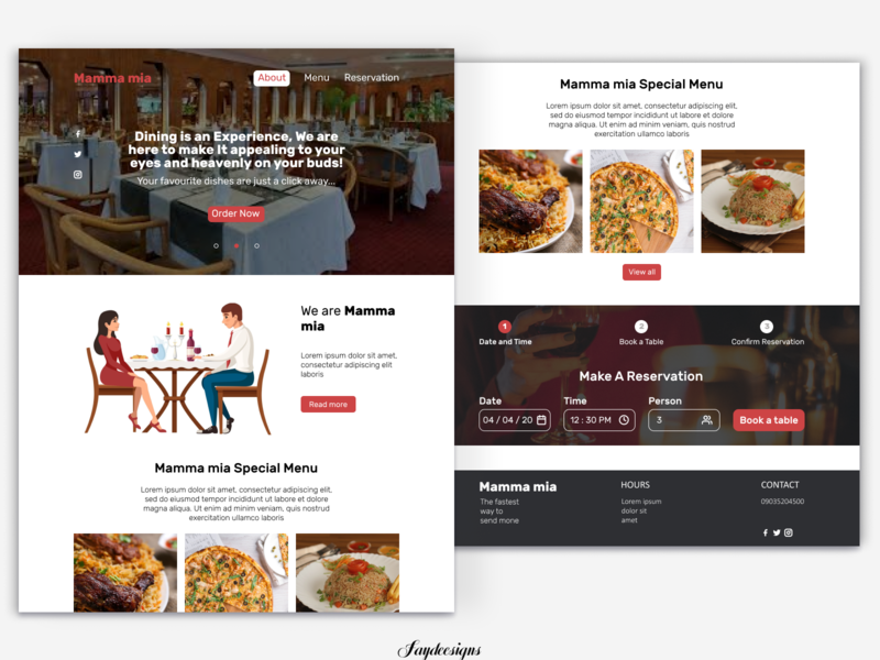 restaurant page restaurant landing page design website design