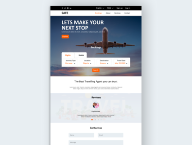 Travel agency website design travel landing page