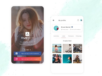Profile Detail and Login/Signup Screen - Fashion Mobile App