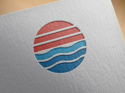 Sunset and wave icon