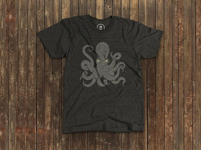OctoTee octopus tshirt screenprint design gold foil