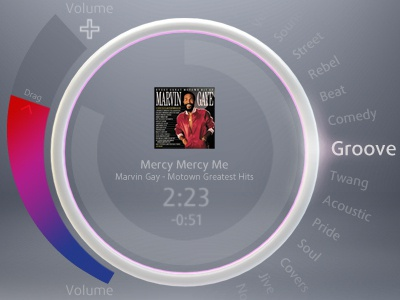 Music Player music dial circle white touch interface ui player