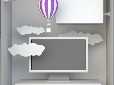 Up, Up and Away facebook 3d c4d white balloon display shelf clouds purple clean