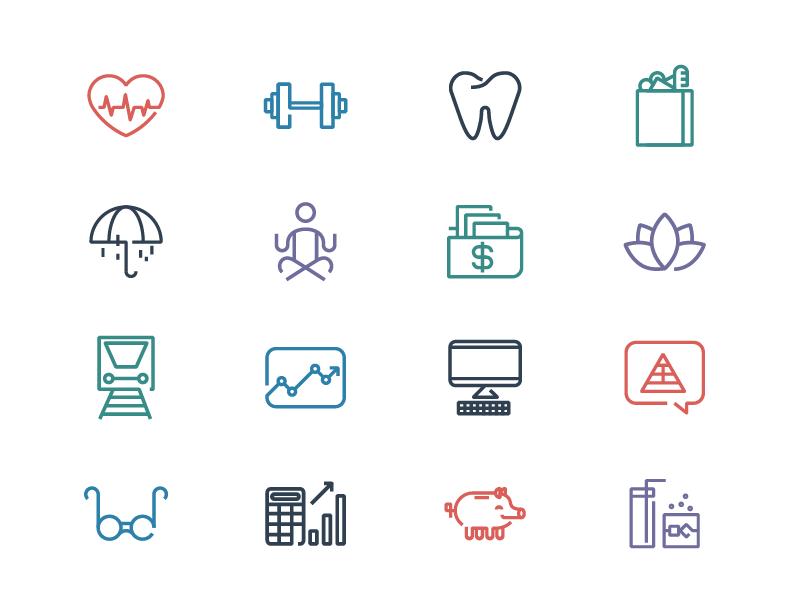 Grovo benefits icons by Matt Jackson - Dribbble