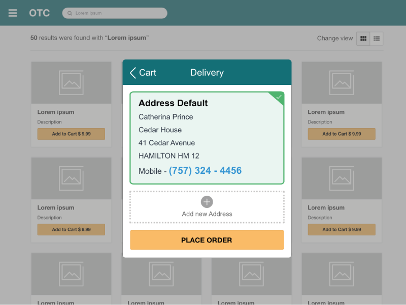 Checkout flow with modal to select the delivery option option delivery the select to modal with flow checkout healthcare ilustrator medical design ux ui