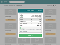 Checkout flow with modal to show the order detail