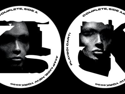 SIDE A,AA noire noir industry recording label newyork album cover music art mural print graffiti illustration alphabet lettering letters branding typography identity