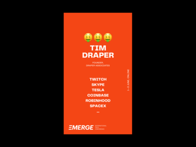 EMERGE, 1—3 June color strategy event branding video streaming online technology tech conference event skype story instagram stories instagram social media emoji branding identity tesla spacex