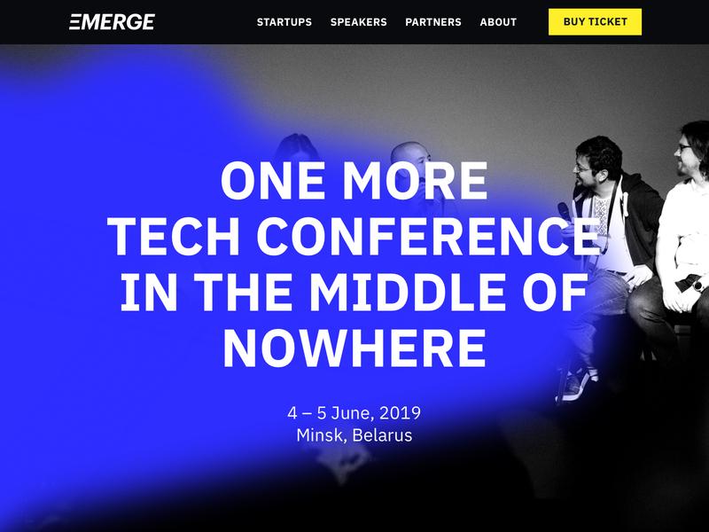 EMERGE tilda tickets party speakers investors startup digital creative concept belarus technology tech communication event conference homepage website ui branding identity