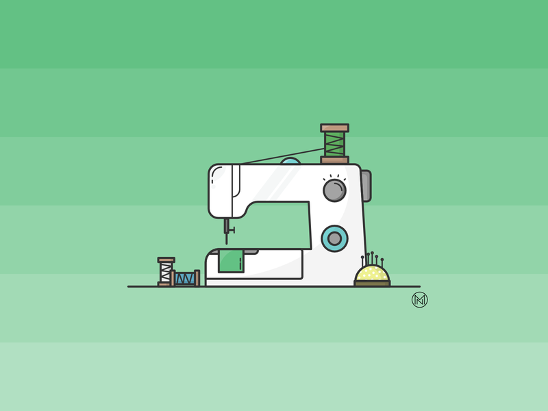 Sewing machine home white sew web shapes cartoon illustration simple outline design webdesign vector sewing machine sewing