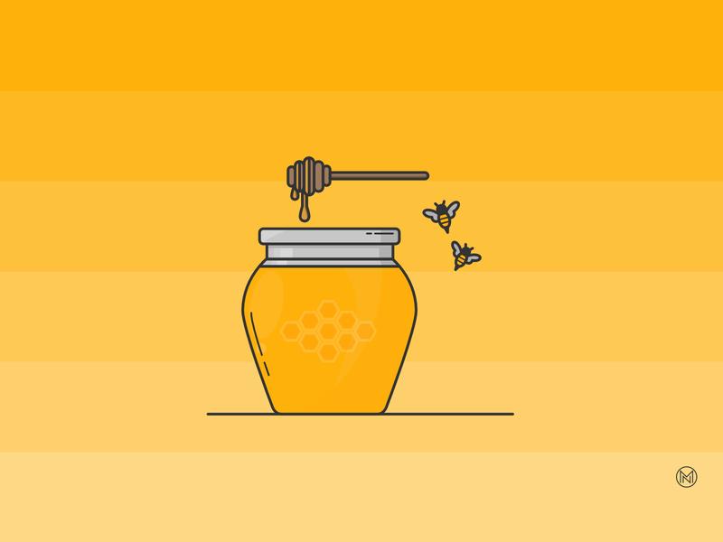 Honey Jar glass breakfast honeybee jar honey illustrator shapes web cartoon illustration simple outline design webdesign vector