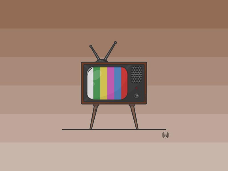 Retro TV tv show oldfashioned livingroom house retro oldstyle old television tv home shapes web cartoon illustration simple outline design webdesign vector