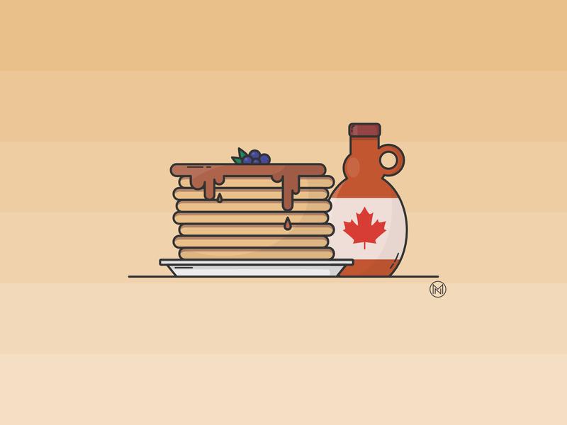 Pancakes homeoffice favourite plate blueberry breakfast pancakes maple syrup maple home illustrator shapes cartoon illustration simple outline design webdesign vector