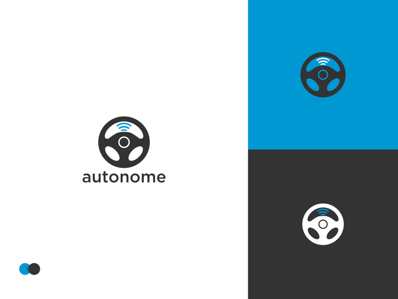 Driverless Car Logo dailylogochallenge autonome auto wheel logodesign technology smart blue company profile driverless car driverless driver company webdesign branding ui logo