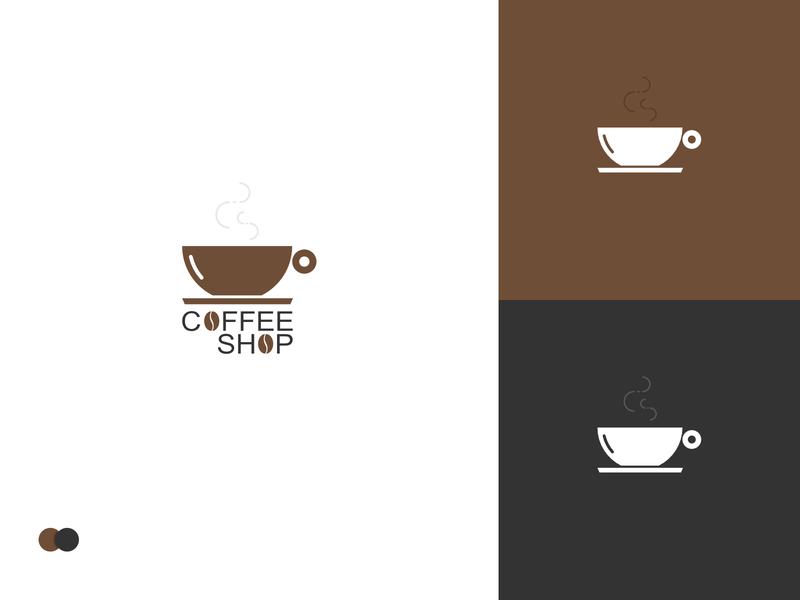 Coffee Shop Logo cup graphic designer business minimalism bean coffee cup coffeeshop coffee company branding ui logo webdesign simple design vector