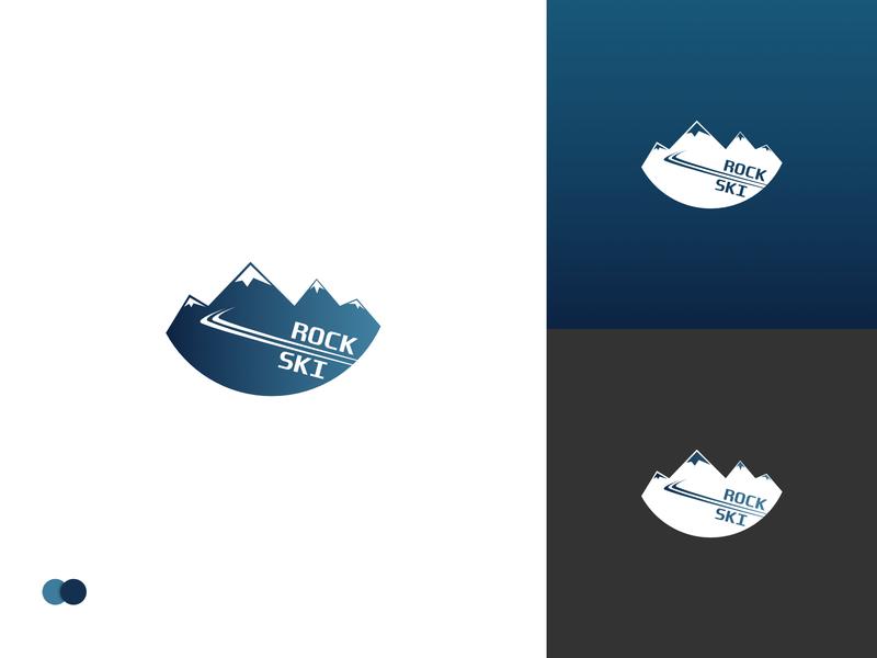 Ski Mountain Logo simple dark blue gradients dailylogochallenge skiing snow mountain ski flat app icon typography branding ui logo design vector webdesign