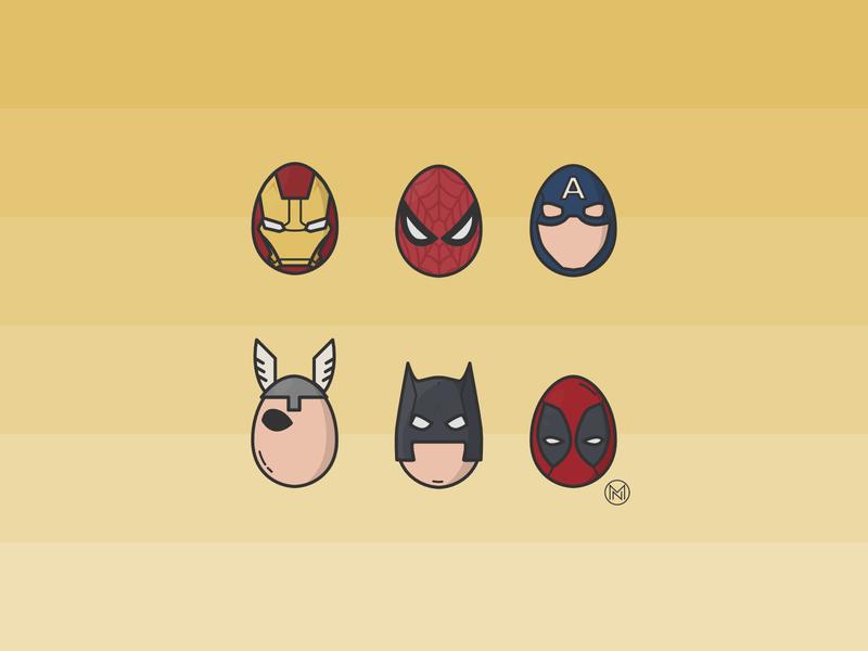 Happy Easter comics marvel decorating heroe heroes eggs egg deadpool spiderman ironman superheroes easter egg easter web cartoon illustration outline design vector