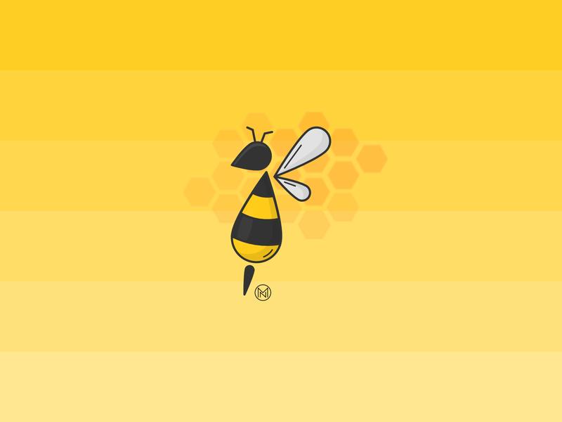 Bee company product jar stripes branding designer honey insect yellow logo app shapes cartoon illustration outline simple design webdesign vector bee