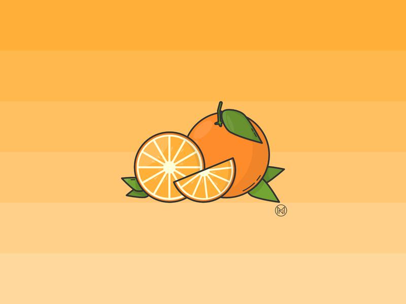 Orange oranges slice citrus fruit orange ui app shapes cartoon illustration outline simple design webdesign vector