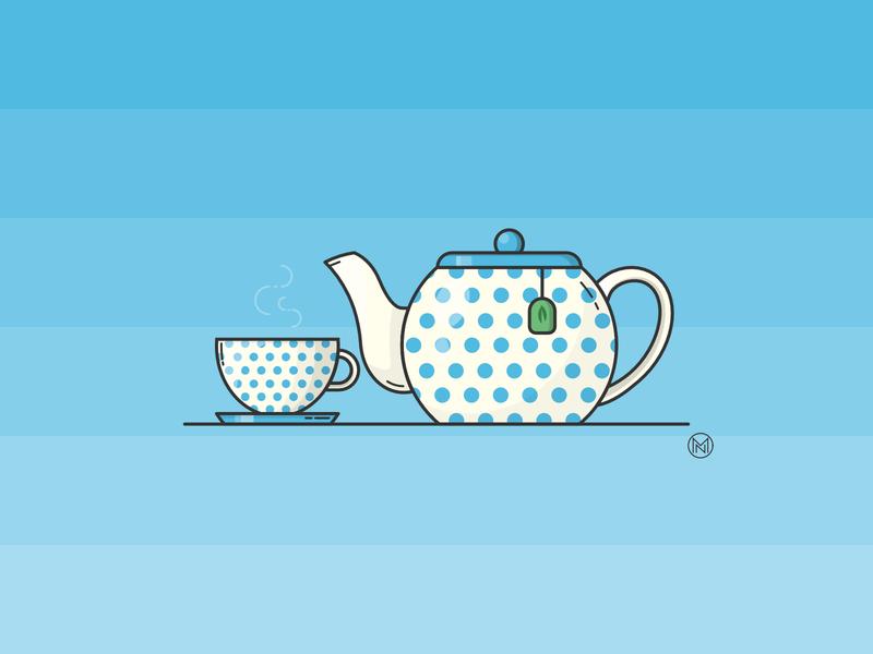 Teapot dots polkadots polkadot dot greentea green cup blue teapot tea designer illustrator shapes cartoon illustration outline simple design webdesign vector