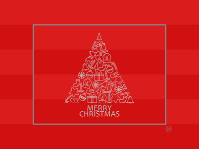 Christmas Card bell gift star decoration tree christmascard web shapes simple illustration outline vector design webdesign website christmas card warmup dribbbleweeklywarmup weeklywarmup