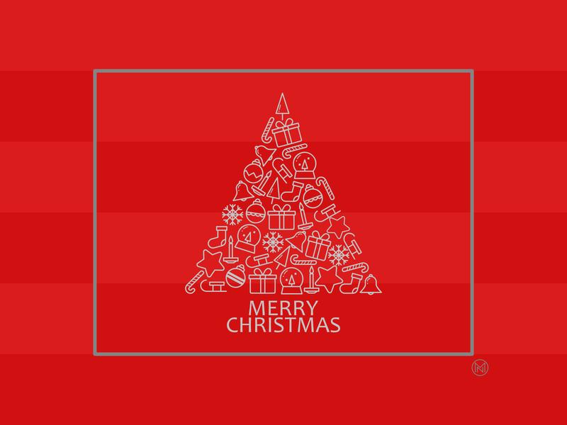 Christmas Card bell gift star decoration tree christmascard web shapes simple illustration outline vector design webdesign website christmas card warmup dribbbleweeklywarmup weeklywarmup