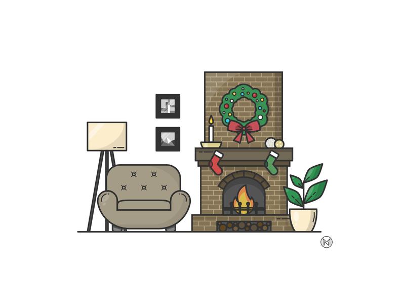 Weekly Warm up weekly wreath socks lamp livingroom cozy decoration christmas shapes web cartoon illustration simple outline vector fire fireplace warmup dribbbleweeklywarmup
