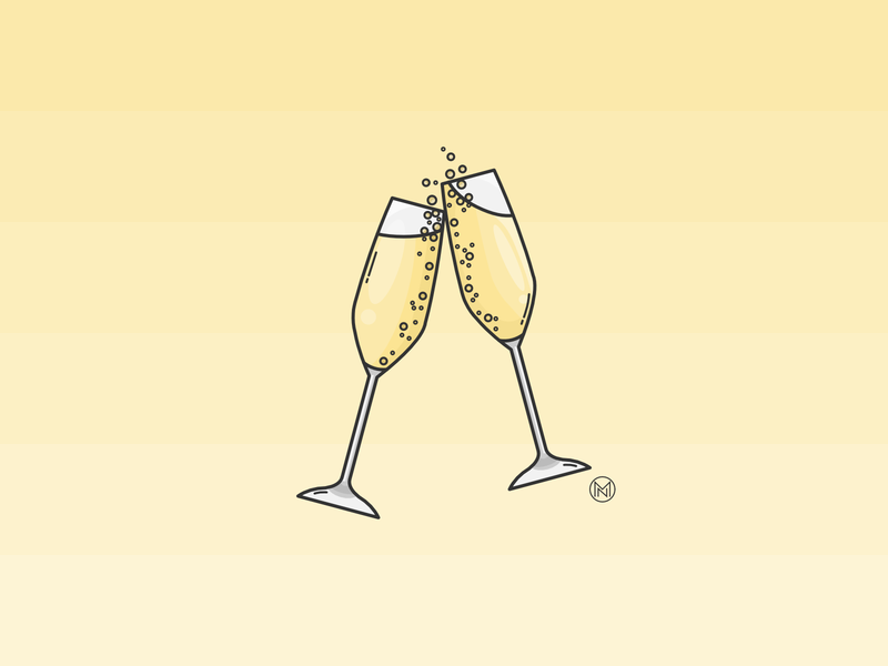 Happy New Year! new glass prosecco sparkling yellow shapes web cartoon illustration simple outline design webdesign vector cheers champagne midnight new year 2020 newyear