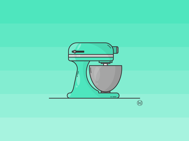 Kitchen mixer house home mix equipment cook bowl illustrator cartoon illustration simple design webdesign vector outline kitchen design mint robot mixer kitchen